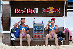 Erika Fabjan and Simona Fabjan of Slovenia at A1 Beach Volleyball Grand Slam tournament of Swatch FIVB World Tour 2011, on August 2, 2011 in Klagenfurt, Austria. (Photo by Matic Klansek Velej / Sportida)