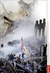 © David Swanson/KRT/ABACA. 28623-1. New York City-NY-USA, 13/09/2001. Rescue workers search for bodies near the remains of the World Trade Center  | 28623_01