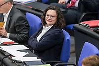 08 NOV 2018, BERLIN/GERMANY:<br /> Andrea Nahles, MdB, SPD Fraktionsvorsitzende, Bundestagsdebatte zum Gesetzentwurf der Bundesregierung ueber Leistungsverbesserungen und Stabilisierung in der gesetzlichen Rentenversicherung, Plenum, Deutscher Bundestag<br /> IMAGE: 20181108-01-009<br /> KEYWORDS: Sitzung
