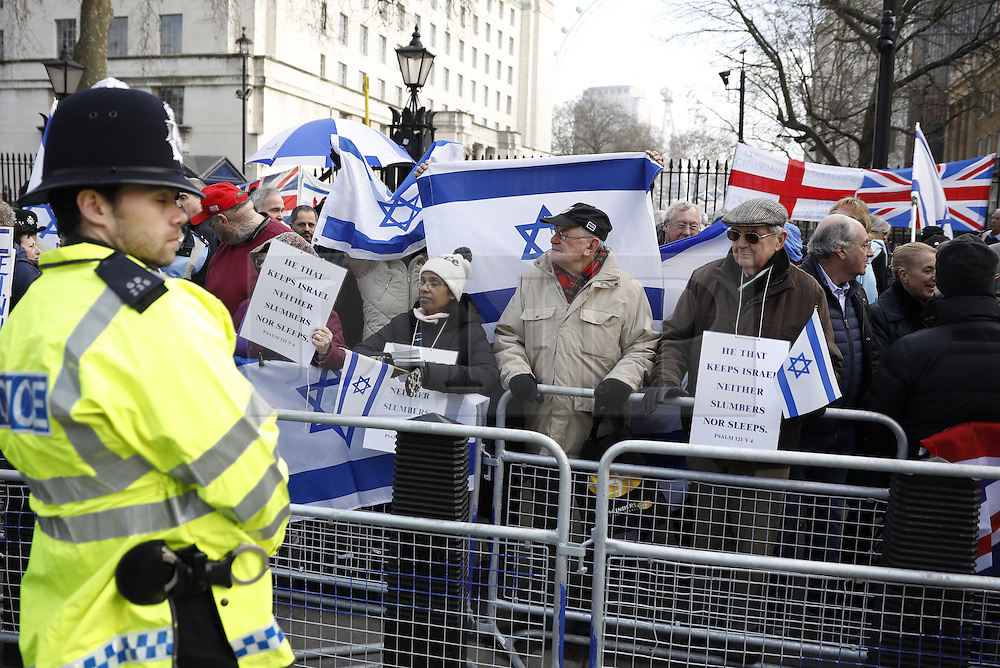 © Licensed to London News Pictures. 06/02/2017. London, UK. Protestors gather outside Downing Street as Israeli Prime Minister Benjamin Netanyahu meets with British Prime Minister Theresa May. Photo credit: Peter Macdiarmid/LNP