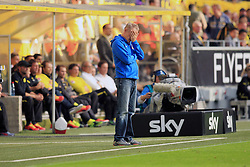 28.09.2013, Signal Iduna Park, Dortmund, GER, 1. FBL, Borussia Dortmund vs SC Freiburg, 7. Runde, im Bild Trainer Christian Streich (SC Freiburg) haelt sich fassungslos, enttaeuscht die Hand vor den Kopf, Emotion // during the German Bundesliga 7th round match between Borussia Dortmund and SC Freiburg at the Signal Iduna Park, Dortmund, Germany on 2013/09/28. EXPA Pictures &copy; 2013, PhotoCredit: EXPA/ Eibner/ Joerg Schueler<br /> <br /> ***** ATTENTION - OUT OF GER *****
