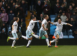 West Ham United's Kevin Nolan celebrates his goal with team mates - Photo mandatory by-line: Matt Bunn/JMP - Tel: Mobile: 07966 386802 08/02/2014 - SPORT - FOOTBALL - Birmingham - Villa Park - Aston Villa v West Ham United - Barclays Premier League