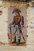Napoleonic soldier ceramic tiles figure Lliber, Marina Alta, Alicante province, Spain