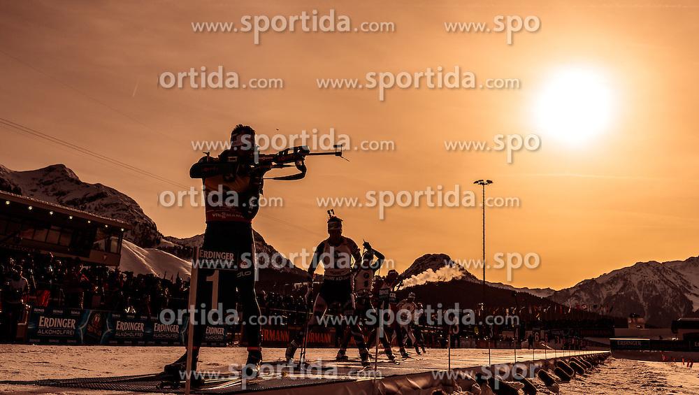 12.02.2017, Biathlonarena, Hochfilzen, AUT, IBU Weltmeisterschaften Biathlon, Hochfilzen 2017, Verfolgung Herren, im Bild Martin Fourcade (FRA), Feature Schiessstand // Martin Fourcade of France Feature Shooting Range during Mens pursuit of the IBU Biathlon World Championships at the Biathlonarena in Hochfilzen, Austria on 2017/02/12. EXPA Pictures © 2017, PhotoCredit: EXPA/ JFK