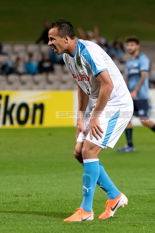 SYDNEY, AUSTRALIA - MAY 21: Kawasaki Frontale player Leandro Damiao (9) winces in pain after missing a shot at goal at AFC Champions League Soccer between Sydney FC and Kawasaki Frontale on May 21, 2019 at Netstrata Jubilee Stadium, NSW. (Photo by Speed Media/Icon Sportswire)