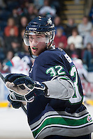 KELOWNA, CANADA - JANUARY 24:  Taylor Green #32 of the Seattle Thunderbirds stands on the ice at the Kelowna Rockets on January 24, 2013 at Prospera Place in Kelowna, British Columbia, Canada (Photo by Marissa Baecker/Shoot the Breeze) *** Local Caption ***