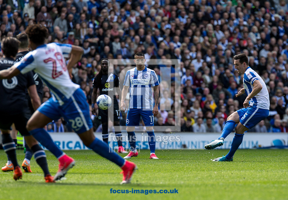 Lewis Dunk of Brighton &amp; Hove Albion shoots during the Sky Bet Championship match at the American Express Community Stadium, Brighton and Hove<br /> Picture by Liam McAvoy/Focus Images Ltd 07413 543156<br /> 01/04/2017