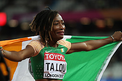 London, 2017 August 06. Marie-Josée Ta-Lou, Cote D'ivoire, runner up of the women's 100m final, tries to hold her emotions in check on day three of the IAAF London 2017 world Championships at the London Stadium. © Paul Davey.