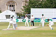 Hassan Azad batting against Tom Smith during the Specsavers County Champ Div 2 match between Gloucestershire County Cricket Club and Leicestershire County Cricket Club at the Cheltenham College Ground, Cheltenham, United Kingdom on 18 July 2019.