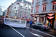 Frankfurt am Main | 05 July 2014<br /> <br /> Am Samstag (05.07.2014) demonstrierten in Frankfurt am Main etwa 250 Menschen aus der linksradikalen Szene gegen die deutsche Fl&uuml;chtlingspolitik, gegen Abschiebungen und f&uuml;r das Bleiberecht gefl&uuml;chteter Menschen in Deutschland und anderswo.<br /> Hier: Die Demo mit dem Transparent &quot;Rassismus t&ouml;tet&quot; im Bahnhofsviertel in der Taunusstra&szlig;e/Ecke Moselstra&szlig;e.<br /> <br /> [Foto honorarpflichtig, kein Model Release]<br /> <br /> &copy;peter-juelich.com