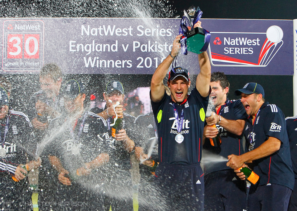 England celebrate winning the Nat West one day international cricket series against Pakistan at the Rose Bowl near Southampton.