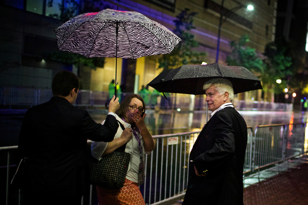 Former Senator Chris Dodd heads to the convention during the 2012 Democratic National Convention in Charlotte, N.C. on Sept. 4, 2012. Photo by Greg Kahn