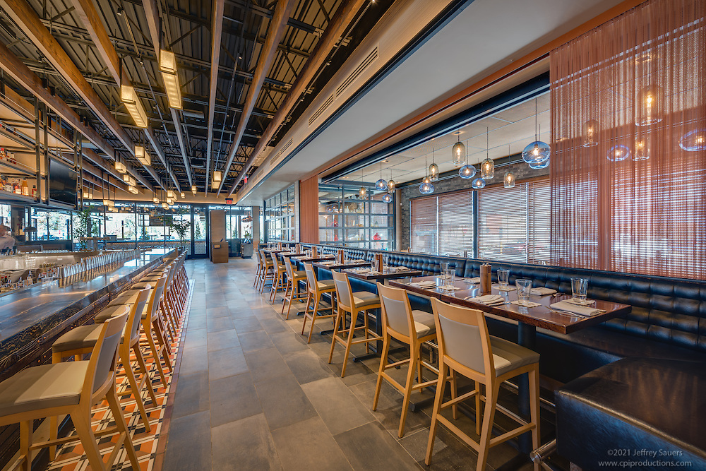 Architectural interior photo of Pennsylvania Restaurant FirePoint by Jeffrey Sauers of Commercial Photographics, Architectural Photo Artistry in Washington DC, Virginia to Florida and PA to New England