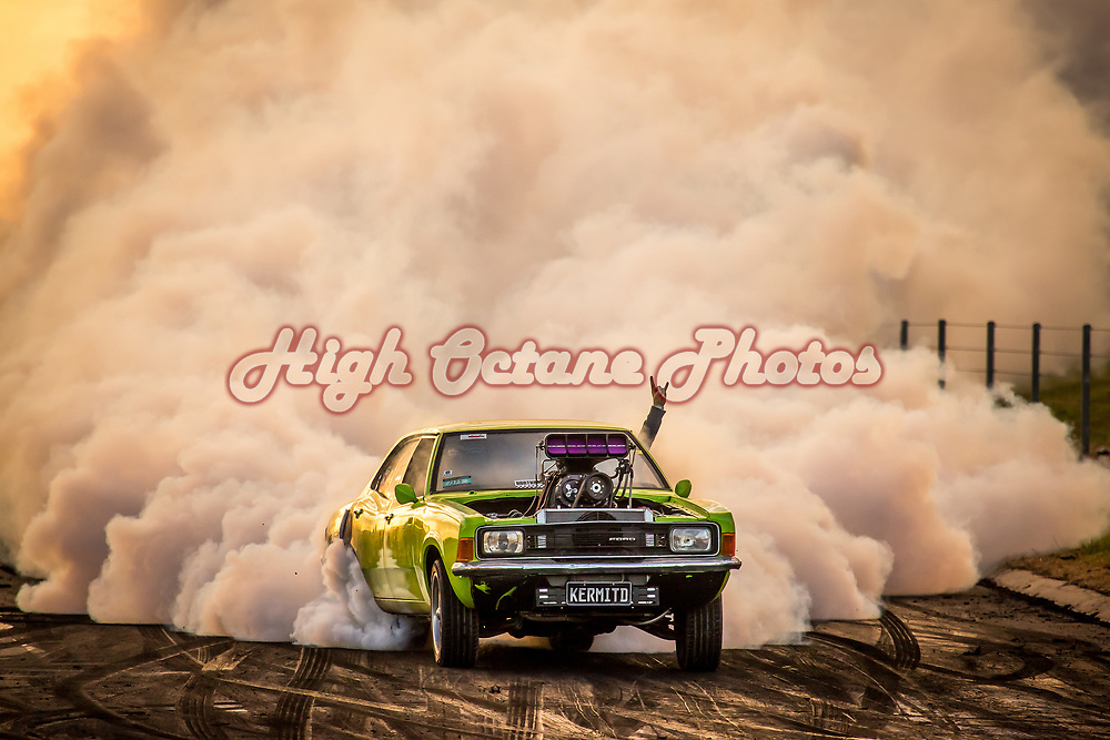Benny Circle entering the Springmount burnout pad, in KERMITD, on the final day of Northern Nats 2018. <br /> Shot at Northern Nats 2018, Springmount Raceway, Far Northern Queensland - &copy; Phil Luyer - High Octane Photos