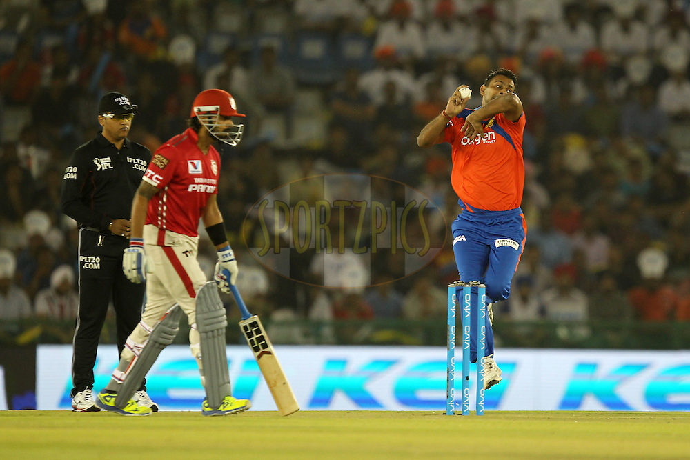 Praveen Kumar of Gujrat Lions bowls during match 3 of the Vivo Indian Premier League ( IPL ) 2016 between the Kings XI Punjab and the Gujarat Lions held at the IS Bindra Stadium, Mohali, India on the 11th April 2016Photo by Prashant Bhoot/ IPL/ SPORTZPICS
