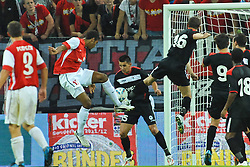 28.07.2011, Coface Arena, Mainz, GER, UEFA Europa League, Mainz 05 vs CS Gaz Metan Medias, im Bild Maxim Choupo-Moting (Mainz #) gegen Ovidiu Hoban (Gaz Metan #15) und Radu Zaharia (Gaz Metan #16) // during the GER, UEFA Europa League, Mainz 05 vs CS Gaz Metan Medias on 2011/07/28, Coface Arena, Mainz, Germany. EXPA Pictures © 2011, PhotoCredit: EXPA/ nph/  Roth       ****** out of GER / CRO  / BEL ******