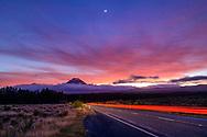 Oceania, New Zealand, Aotearoa, North Island, Tongariro National Park, Mount Tongariro and highway at dawn