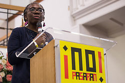 London, UK. 2nd March, 2019. Danièle Obono, French MP for the France Insoumise party, addresses the ¡No Pasaran! Confronting the Rise of the Far-Right conference at Bloomsbury Central.
