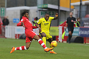 David Sesay and Alex Addai  during the EFL Sky Bet League 2 match between Crawley Town and Cheltenham Town at the Broadfield Stadium, Crawley, England on 5 January 2019.