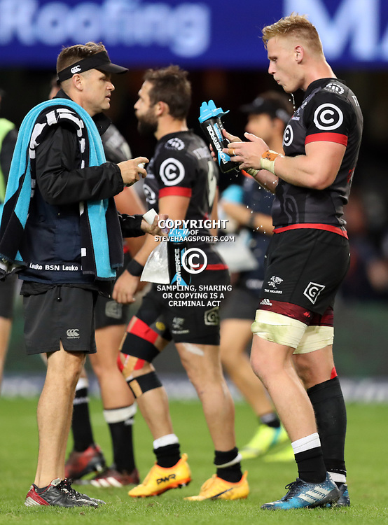 DURBAN, SOUTH AFRICA - MAY 27: Deane Macquet (Physiotherapist) of the Cell C Sharks with Jean-Luc du Preez of the Cell C Sharks during the Super Rugby match between Cell C Sharks and DHL Stormers at Growthpoint Kings Park on May 27, 2017 in Durban, South Africa. (Photo by Steve Haag/Gallo Images)
