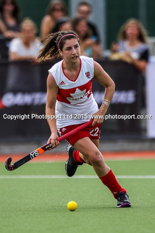 Madeline Secco in action. International Womens Hockey. New Zealand Black Sticks v Canada. Whangarei. New Zealand. Sunday 8 February 2015. Copyright Photo: Heath Johnson / www.photosport.co.nz