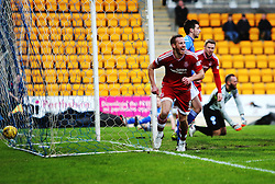 Aberdeen&rsquo;s Rooney cele scoring their first goal. <br /> half time : St Johnstone 0 v 2 Aberdeen, SPFL Ladbrokes Premiership played 6/2/2016 at McDiarmid Park, Perth.