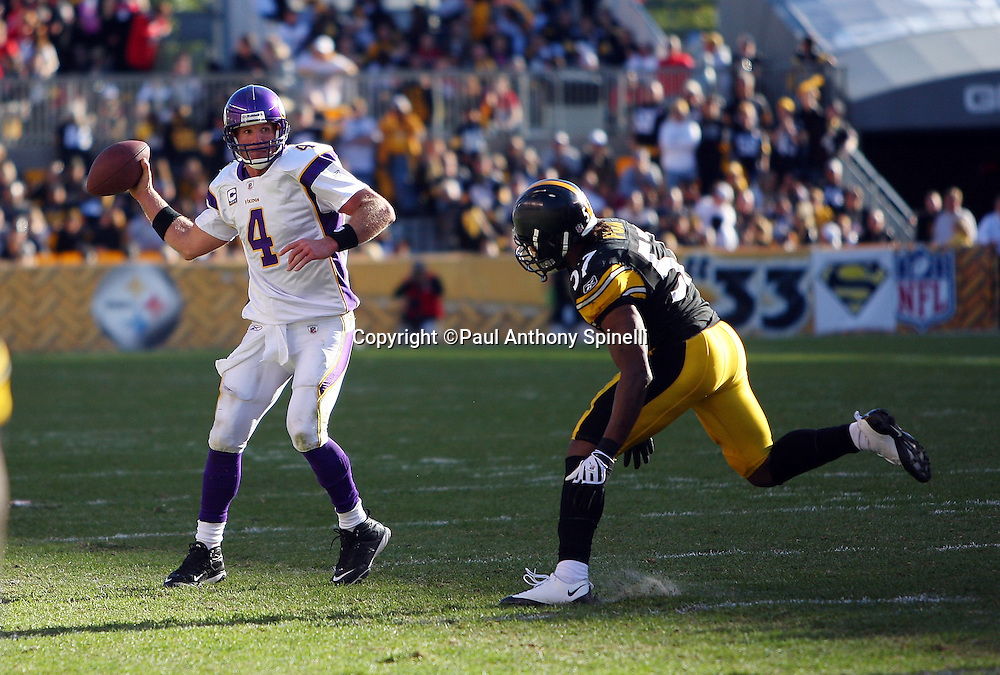 Minnesota Vikings quarterback Brett Favre (4) gets pressured by Pittsburgh Steelers linebacker Keyaron Fox (57) during the NFL football game against the Pittsburgh Steelers, October 25, 2009 in Pittsburgh, Pennsylvania. The Steelers won the game 27-17. (©Paul Anthony Spinelli)