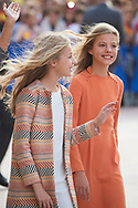 Crown Princess Leonor, Princess Sofia arrived to Alfonso II Square (Cathedral's Square) for Princesa de Asturias Awards 2019 on October 17, 2019 in Oviedo, Spain