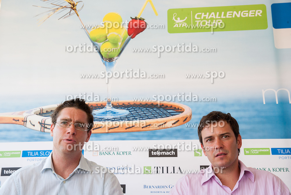 Gregor Krusic of TZS and Denis Topcic of Tilia during press conference of ATP Challenger Tilia Slovenia Open 2013, on June 20, 2013 in Hotel Metropol, Portoroz, Slovenia. (Photo By Vid Ponikvar / Sportida)