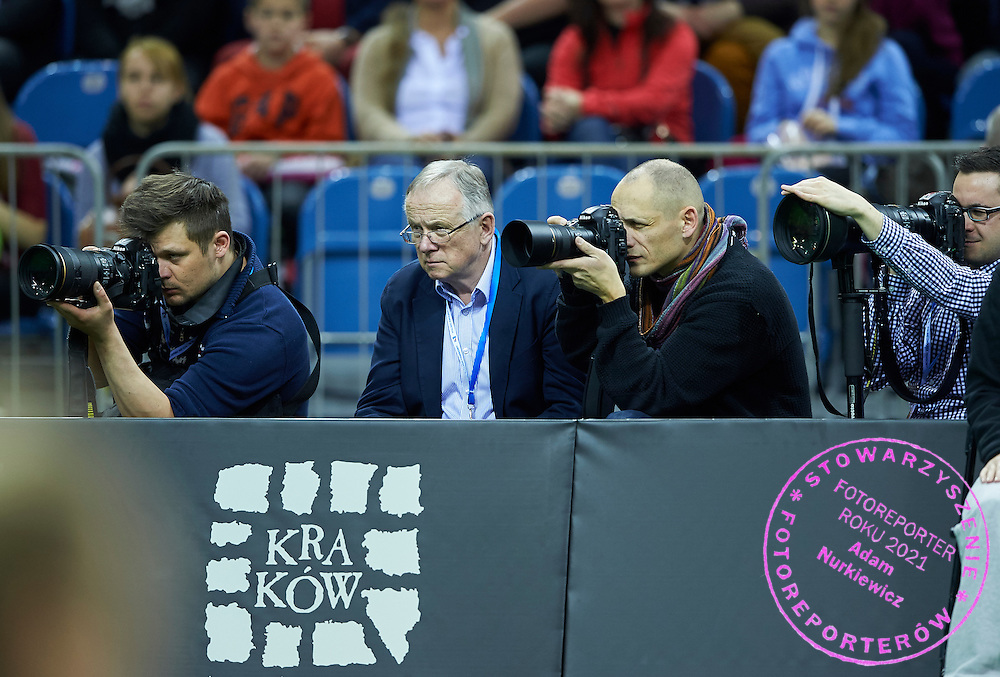 (L-R) Photographer Maciej Gillert (Epoka Agency) and Piotr Hawalej (Wrofoto Agency) and Michal Stanczyk (Cyfrasport Agency) during Second Day of the Fed Cup / World Group 1st round tennis match between Poland and Russia at Tauron Krakow Arena on February 8, 2015 in Cracow, Poland.<br /> <br /> Poland, Cracow, February 8, 2015<br /> <br /> Picture also available in RAW (NEF) or TIFF format on special request.<br /> <br /> For editorial use only. Any commercial or promotional use requires permission.<br /> <br /> Adam Nurkiewicz declares that he has no rights to the image of people at the photographs of his authorship.<br /> <br /> Mandatory credit:<br /> Photo by &copy; Adam Nurkiewicz / Mediasport