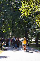 People in Planty City Park in the centre of Krakow Poland