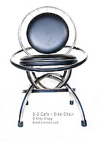 "S-2 Cafe Chair, chromed-steel rims, padded vinyl cushions. 24"" x 24"" x 36"" high, 18"" seat height."