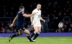 Mike Brown of England kicks the ball forward - Mandatory by-line: Robbie Stephenson/JMP - 04/02/2017 - RUGBY - Twickenham - London, England - England v France - RBS Six Nations
