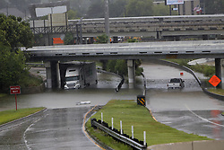(170827) -- HOUSTON, Aug. 27, 2017 (Xinhua) -- Vehicles are stranded in flood in great Houston area, Texas, the United States, Aug. 27, 2017 as the Hurricane Harvey made its strong landfall over the Texas Gulf Coast Friday night. Widespread and worsening flood conditions prompted the closure of nearly every major road in Houston as the outer bands of Harvey swept through the Houston area over the weekend. Latest news reports said the storm death toll has climbed to at least 5. (Xinhua/Song Qiong) (Photo by Xinhua/Sipa USA)