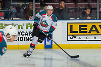 KELOWNA, CANADA - FEBRUARY 16: Dalton Gally #3 of the Kelowna Rockets warms up against the Vancouver Giants on February 16, 2019 at Prospera Place in Kelowna, British Columbia, Canada.  (Photo by Marissa Baecker/Shoot the Breeze)