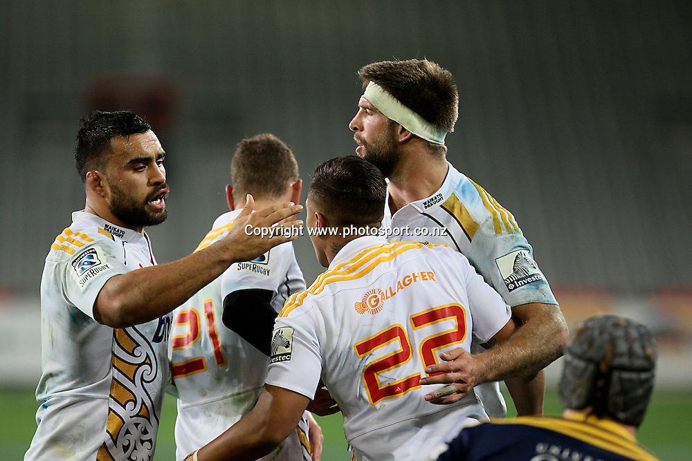 Tim Nanai-Williams, right, celebrates his try with Liam Messam, left,  in the Super 15 rugby match, Highlanders v Chiefs, Forsyth Barr Stadium, Dunedin, New Zealand, Friday, June 27, 2014. Photo: Dianne Manson / www.photosport.co.nz