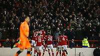 Forest celebrate taking a 2-1 lead over Arsenal thanks to another Eric Lichaj goal  during The Emirates FA Cup Third Round match between Nottingham Forest and Arsenal at City Ground on January 7, 2018 in Nottingham, England.