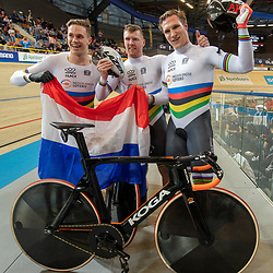 16-10-2019: Wielrennen: EK Baanwielrennen: Apeldoorn<br />Nederlandse Teamsprinters Europees Kampipoen. Jeffrey Hoogland, Roy van den Berg, Harrie Lavreysen