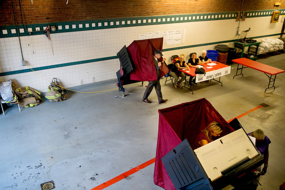 HOBOKEN, NJ - JUNE 7, 2016: Voters cast their ballots in the presidential primary at Engine Company No. 2 firehouse in Hoboken, New Jersey. CREDIT: Sam Hodgson for The New York Times.