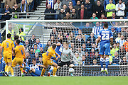 Brighton & Hove Albion forward Tomer Hemed (10) has an attempt at goal during the Sky Bet Championship match between Brighton and Hove Albion and Preston North End at the American Express Community Stadium, Brighton and Hove, England on 24 October 2015. Photo by Phil Duncan.