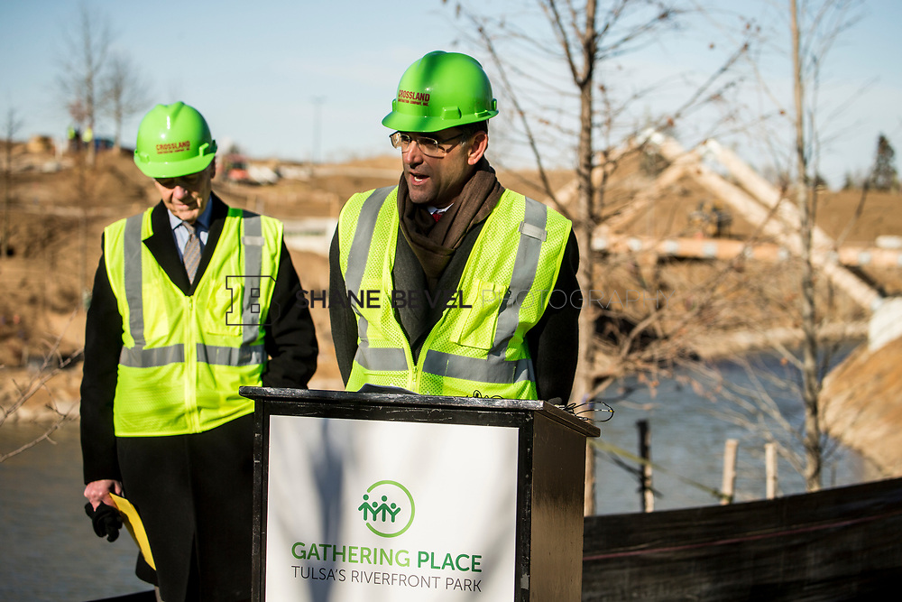 1/12/18 11:09:19 AM -- Halliburton CEO Jeff Miller and George Kaiser visit the Gathering Place for a press conference announcing Halliburton's support for the park. <br /> <br /> Photo by Shane Bevel