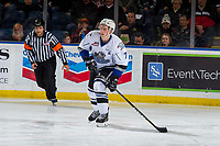 KELOWNA, CANADA - OCTOBER 5:  Scott Walford #7 of the Victoria Royals skates with the puck against the Kelowna Rockets on October 5, 2018 at Prospera Place in Kelowna, British Columbia, Canada.  (Photo by Marissa Baecker/Shoot the Breeze)  *** Local Caption ***