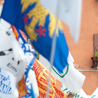 """An old lady looks from her window  during today Lega Nord rally in Venice under the slogan """"Prima Il Nord""""  (North First)  the Lega Nord with its new Secretary Roberto Maroni are trying to go back to their  1996 meeting in Venice with its original federalist credo"""