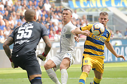 September 15, 2018 - Milan, Milan, Italy - Ivan Perisic #44 of FC Internazionale Milano competes for the ball with Luigi Sepe #55 of Parma Calcio 1913 during the serie A match between FC Internazionale and Parma Calcio 1913 at Stadio Giuseppe Meazza on September 15, 2018 in Milan, Italy. (Credit Image: © Giuseppe Cottini/NurPhoto/ZUMA Press)