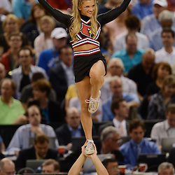 Mar 31, 2012; New Orleans, LA, USA; A Louisville Cardinals cheerleader performs during the first half against the Kentucky Wildcats in the semifinals of the 2012 NCAA men's basketball Final Four at the Mercedes-Benz Superdome. Mandatory Credit: Derek E. Hingle-US PRESSWIRE