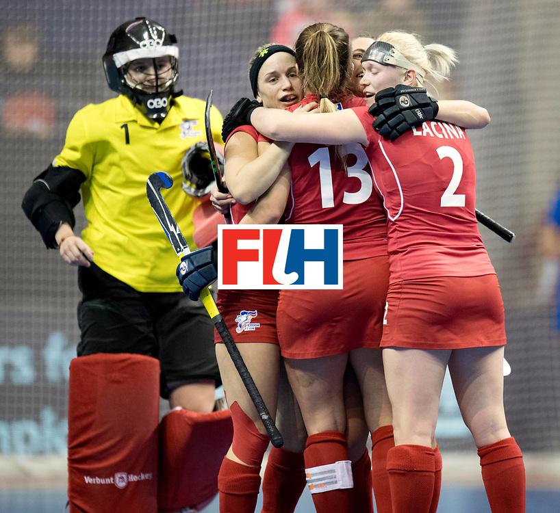 BERLIN - Indoor Hockey World Cup<br /> Women: Russia - Czech Republic<br /> foto: Czech Republic celebrate the win.<br /> WORLDSPORTPICS COPYRIGHT FRANK UIJLENBROEK