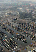 China - Japan Out<br /> <br /> Tianjin Storage Explosion<br /> <br />  Rescuers clear the damaged imported cars near the core blast area in Tianjin, north China.<br /> ©Exclusivepix Media