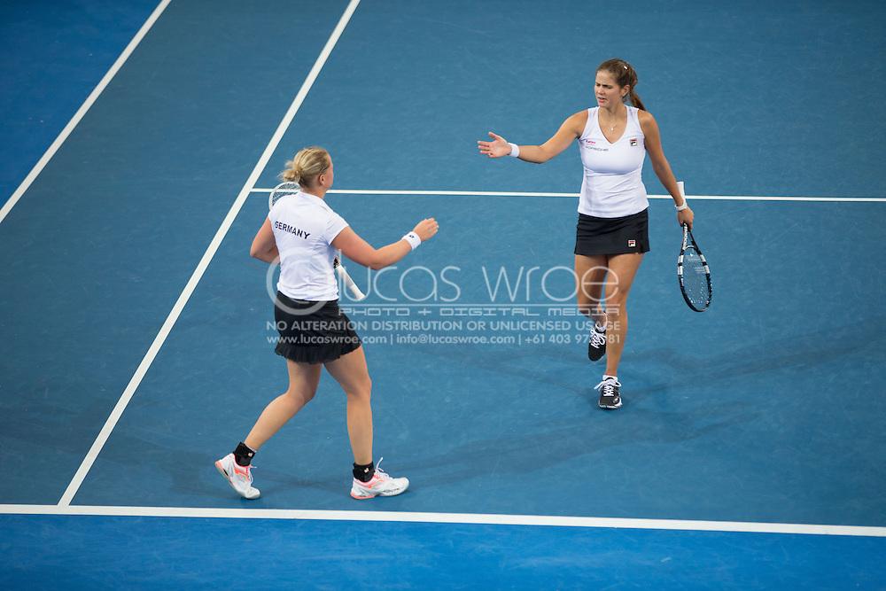 Julia Görges (GER) and Anna-Lena Groenefeld (GER), April 20, 2014 - TENNIS : Fed Cup, Semi-Final, Australia v Germany. Pat Rafter Arena, Brisbane, Queensland, Australia. Credit: Lucas Wroe