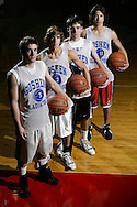 Goshen basketball captains A.J. Zecchini, John Xanthis, John Melville and Edward Robinson pose for a photograph before practice in Goshen on Dec 4, 2006.