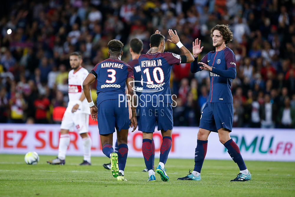 Neymar da Silva Santos Junior - Neymar Jr (PSG) and Adrien Rabiot (psg), Presnel Kimpembe (PSG), Thiago Motta Santon Olivares (psg), Andy DELORT (Toulouse Football Club) during the French championship L1 football match between Paris Saint-Germain (PSG) and Toulouse Football Club, on August 20, 2017, at Parc des Princes, in Paris, France - Photo Stephane Allaman / ProSportsImages / DPPI